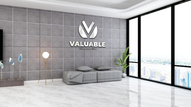 Mockup del logo aziendale nella lussuosa sala d'attesa della hall