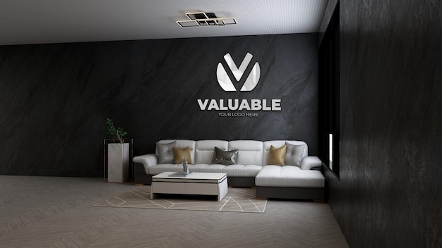 Mockup del logo dell'azienda nella sala d'attesa della hall dell'ufficio