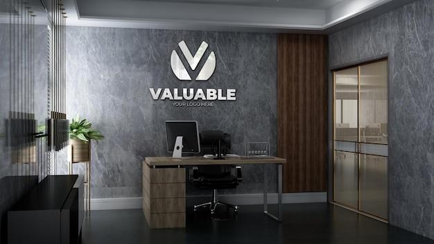 Mockup del logo dell'azienda nella roo del manager dell'ufficio