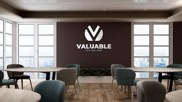 Mockup del logo aziendale nell'area della dispensa dell'ufficio
