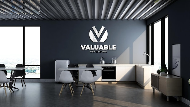 Mockup del logo aziendale nella dispensa dell'ufficio