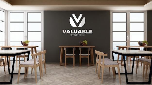 Mockup del logo aziendale nella dispensa dell'ufficio con tavolo e sedia per pranzo Psd Premium