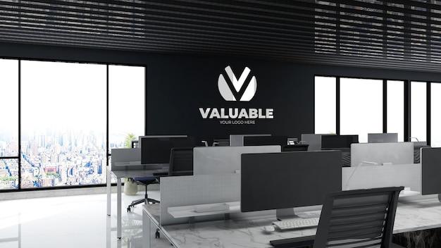 Mockup del logo aziendale nella stanza del posto di lavoro dell'ufficio
