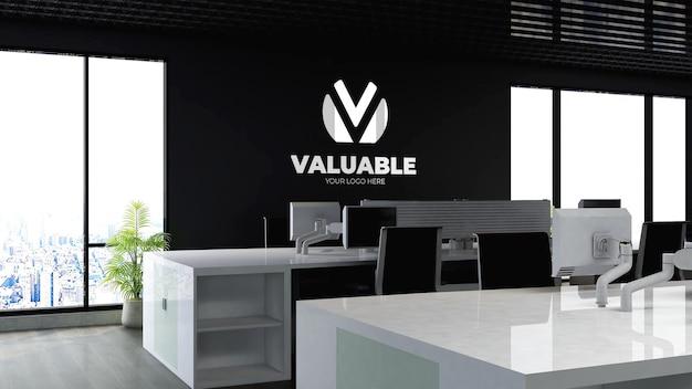 Mockup del logo aziendale nell'area di lavoro dell'ufficio