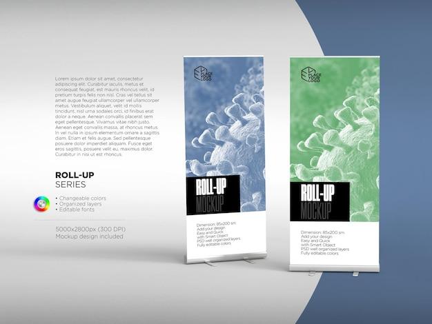 Roll up aziendale o mockup di banner per il tuo design