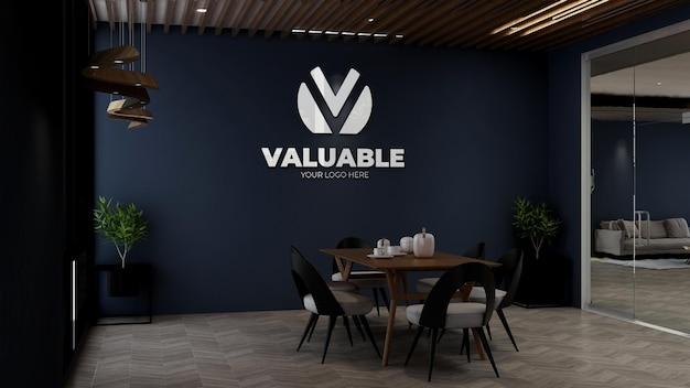 Mockup del logo della parete aziendale nella dispensa dell'ufficio