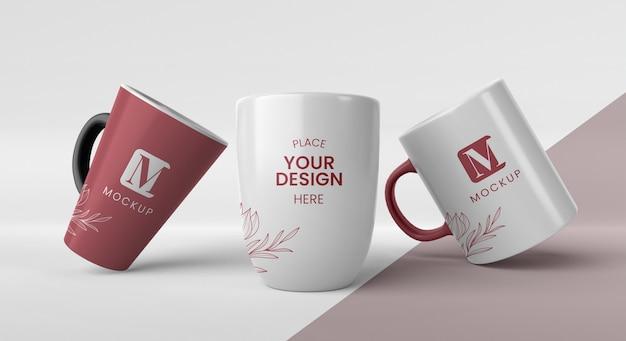 Composizione di tazze da caffè minimal Psd Premium