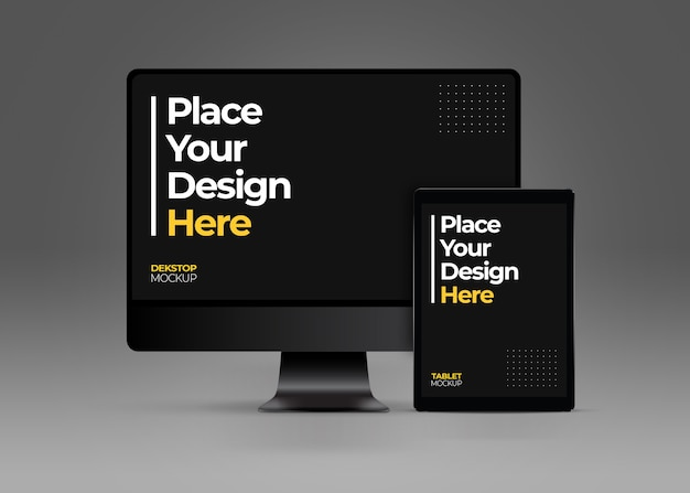 Mockup di computer desktop e tablet