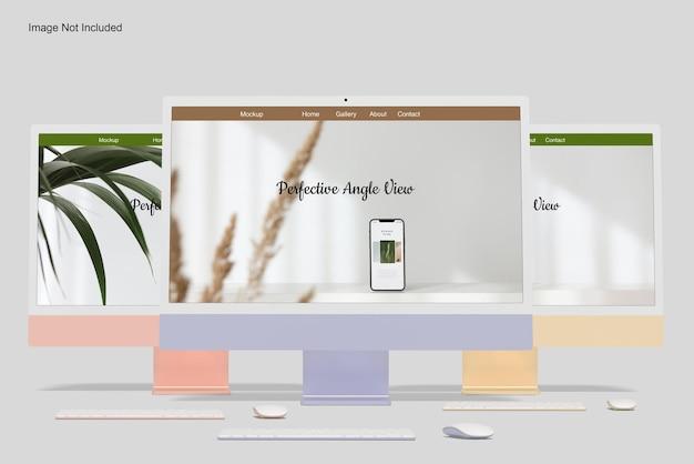 Angolo di vista frontale del mockup dello schermo del desktop del computer