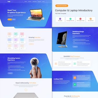 Computer e laptop interfaccia utente web introduttiva