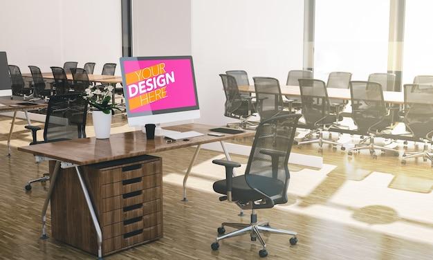 Mockup di computer all'interno dell'ufficio di rendering 3d
