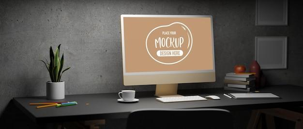 Monitor del computer con rendering 3d dello schermo mockup