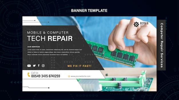 Banner di servizi di riparazione di computer e telefoni