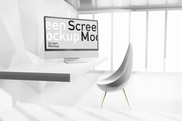 Mockup di presentazione dello schermo del computer nel creatore di scena dell'illustrazione di rendering 3d