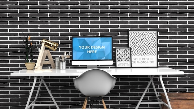 Schermo del computer e poster verticale mockup in black brick contemporary home office