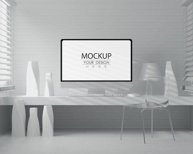 Computer sul tavolo nel mockup dello spazio di lavoro