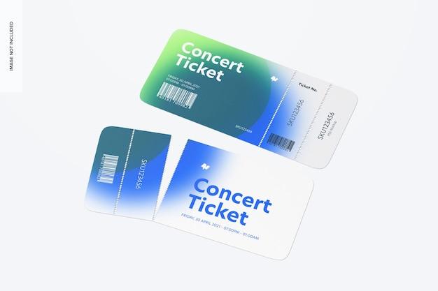 Biglietto per il concerto mockup, prospettiva