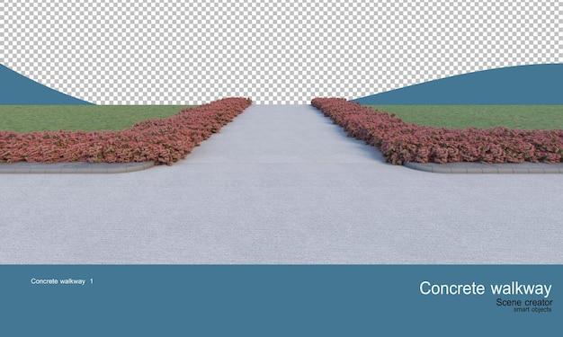Passerelle in cemento e un'ampia varietà di arbusti