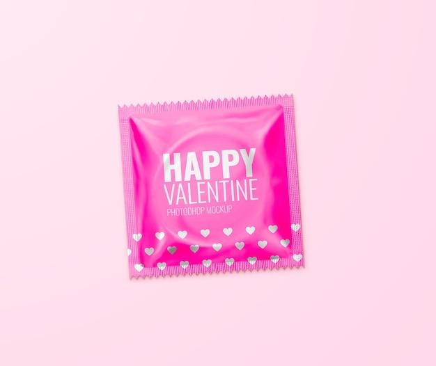 Mockup di preservativo felice san valentino