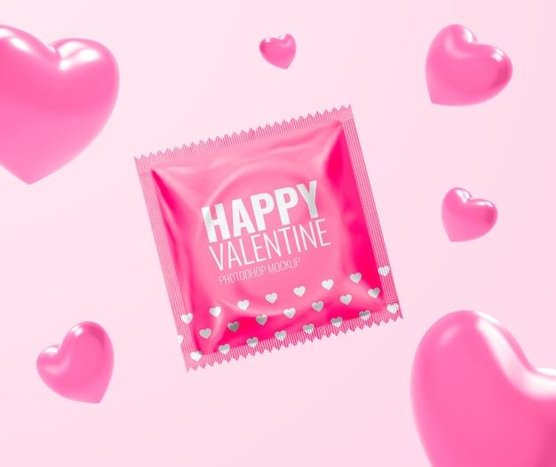 Mockup pubblicitario di san valentino del preservativo
