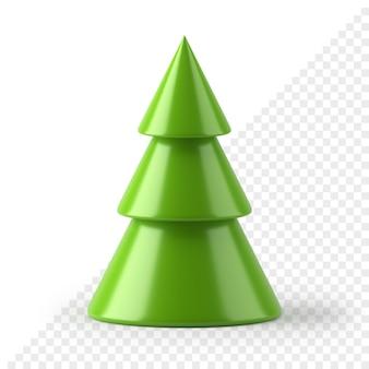L'albero di natale minimalista del cono 3d rende. design verde astratto per capodanno e vacanze invernali. stile geometrico piramidale. celebrazione del regalo tradizionale con decorazione d'interni