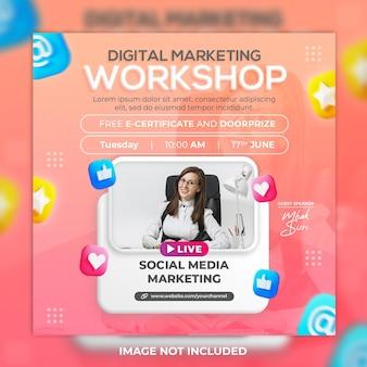 Post sui social media della conferenza e modello di post su instagram