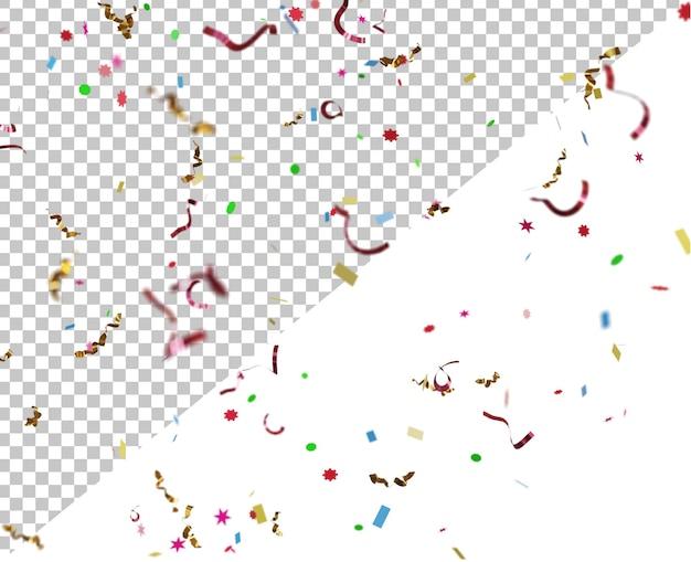 Effetto particelle di coriandoli con sfondo trasparente