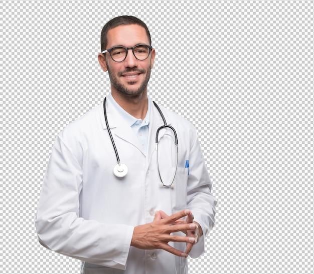 Giovane posa sicura del medico