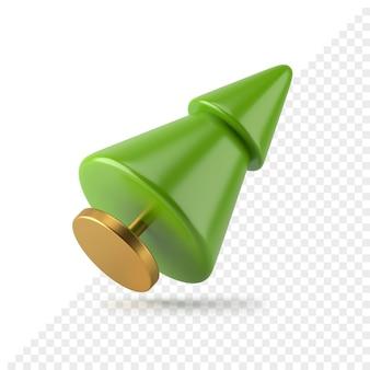 L'albero attillato realistico verde conico 3d di natale rende. design geometrico minimalista su supporto dorato. capodanno festivo creativo con due elementi a più livelli. buone vacanze simbolo astratto.