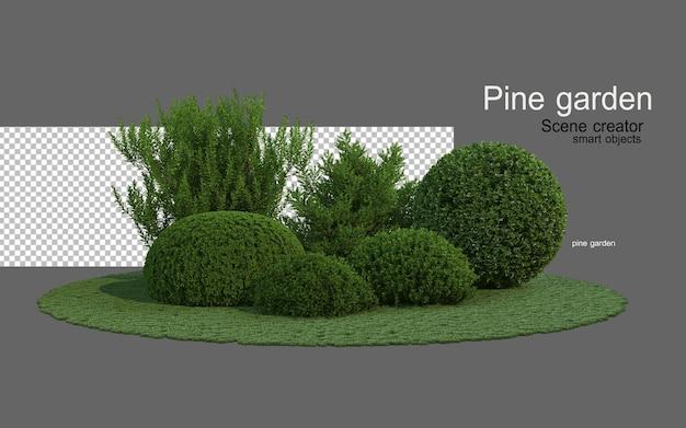 Giardini di conifere con una varietà di forme