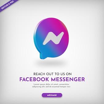 Connettiti su facebook messenger promo banner con icona 3d