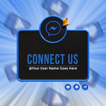 Connettici su messenger social media terzo inferiore 3d design render icona badge