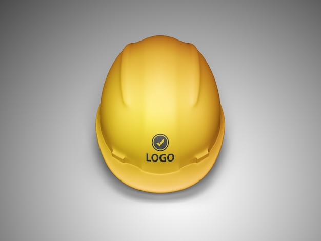 Vista frontale del mockup del logo del casco da costruzione
