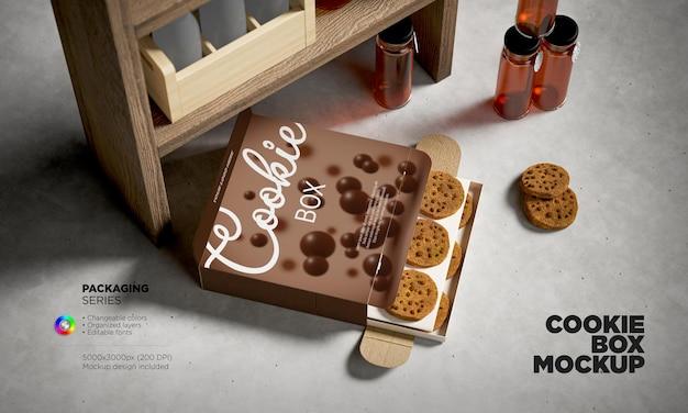 Modello di scatola di biscotti in rendering 3d