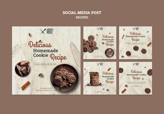 Modello di post sui social media della ricetta del cookie