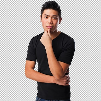 Cool uomo cinese pensando
