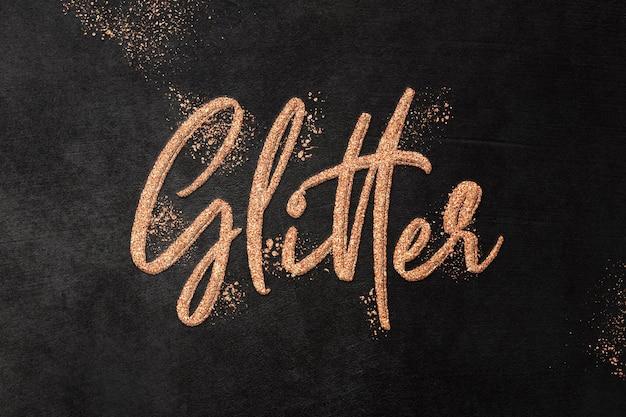 Modello di effetto di testo glitter rame