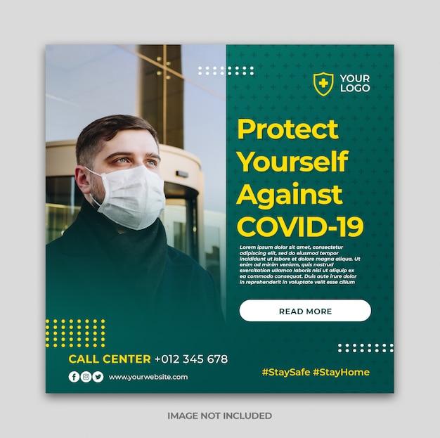 Coronavirus avviso social media instagram banner post modello o volantino quadrato