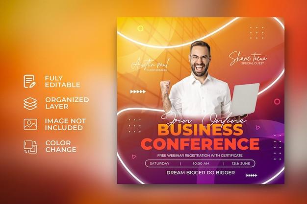 Modello di banner per agenzia di marketing sui social media per conferenze aziendali aziendali psd gratuito