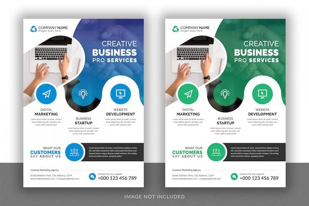Progettazione di volantino di agenzia di marketing digitale aziendale aziendale e modello di copertina della brochure