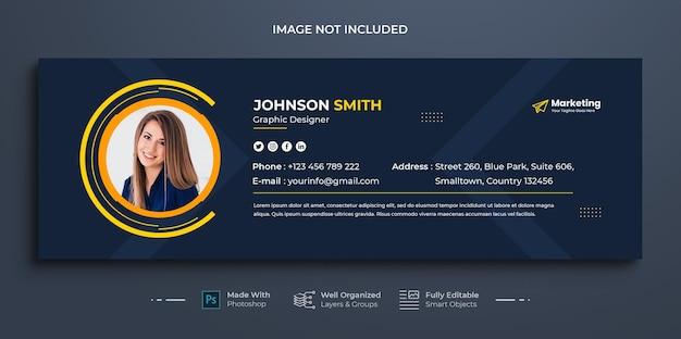 Modello di firma e-mail aziendale aziendale o piè di pagina e-mail e design della copertina dei social media personali