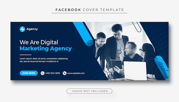 Foto di copertina di facebook e banner web per la promozione del marketing aziendale e digitale