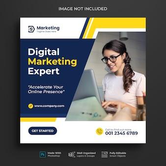 Promozione del marketing aziendale e digitale instagram post design o banner sui social media