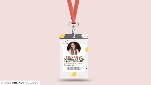 Carta d'identità aziendale con cordino front view psd mockup