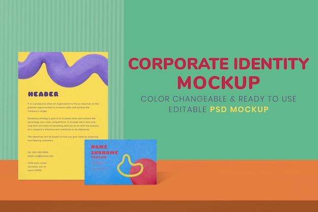 Modello di identità aziendale, immagine psd realistica di cancelleria colorata