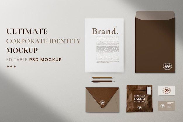 Modello di identità aziendale, immagine psd realistica di cancelleria professionale