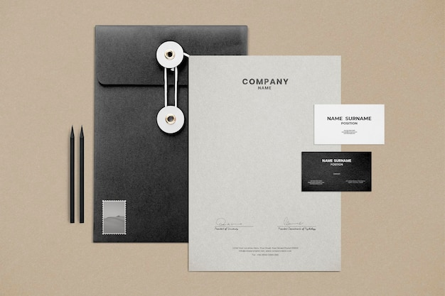Psd mockup di identità aziendale impostato per l'impresa aziendale