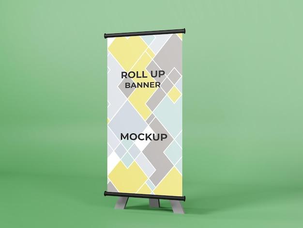 Modello di banner roll up 3d per ufficio aziendale