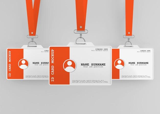 Mockup di porta carta d'identità per ufficio aziendale con cordino
