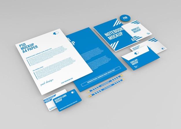 Mockup di branding set di cancelleria aziendale